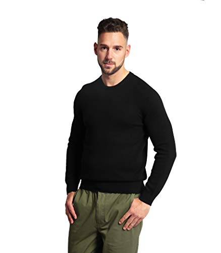 Goyo Cashmere Men's 100% Pure Cashmere Sweater - Crew Neck Long Sleeve Pullover (Black, - Cashmere 100% Crew Sweater