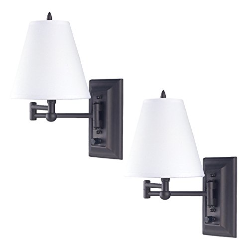 2 Pack Oil Rubbed Bronze Mount Swing Arm Reading Bedside Lamp Bedroom Light (Wall Lamp Venetian)