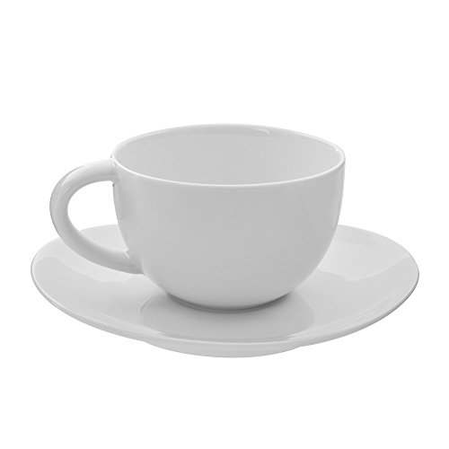 10 Strawberry Street RVL0009-6 Royal Oval Oversized Cup/Saucer, Set of 6, White