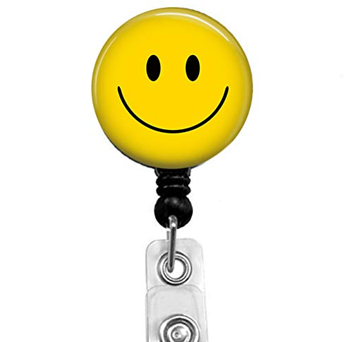 Smiley Simple Sticker Badge Reel, Retractable Name Card Badge Holder with Alligator Clip, 24in Nylon Cord, Medical MD RN Nurse Badge ID, Badge Holder, Office Employee Name Badge Badge Reel No Sticker