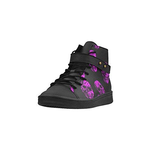 D-story Round Toe High Top Zapatos Purple Skulls Mujeres Zapatillas De Deporte