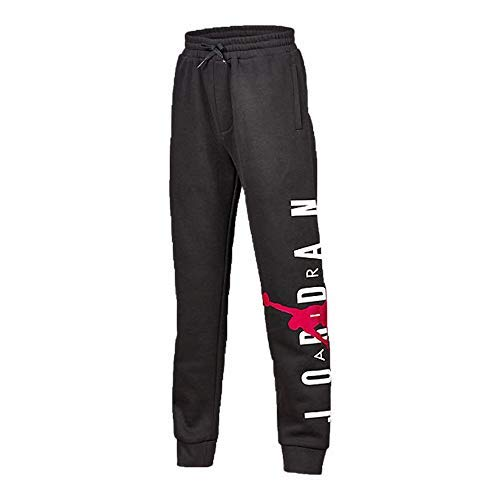 Jordan Boys Youth Fleece Graphic Jumpman Pants Sweatpants Size M, L, XL (Black Heather, Large (12-13yrs))