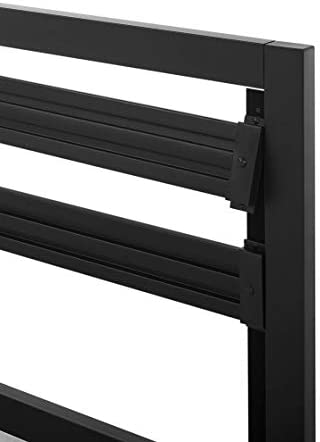 Amazon Basics Metal Bed with Modern Industrial Design Headboard – 14 Inch Height for Under-Bed Storage – Wood Slats – Easy Assemble, Queen 31nYE z3SiL