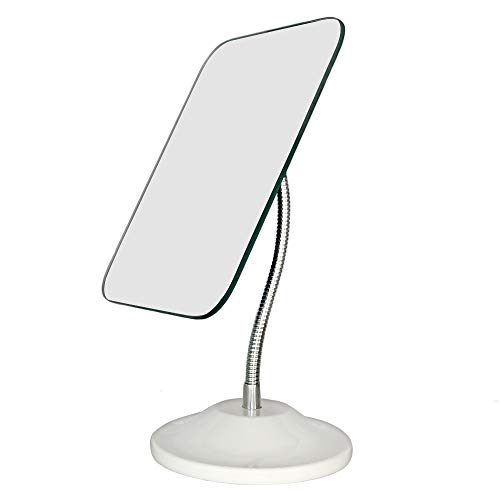 YEAKE Adjustable Flexible Gooseneck Makeup Mirror,360°Rotation Folding Portable Desk Vanity Mirror with Stand Shower Shaving Cosmetic Mirror Square (Makeup Mirror Desk)