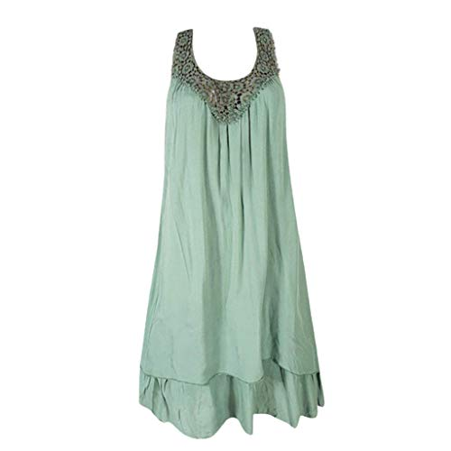 HYIRI Women's Casual Solid Lace Splice Slim Sleeveless Loose Shirt Hollow Blouse Tops Green