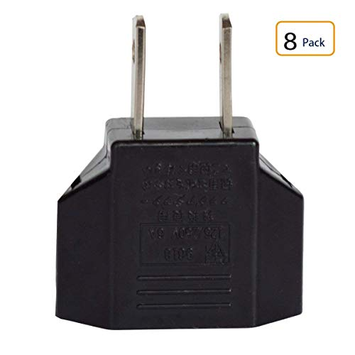 Travel Adapter, European (Round) to American (Flat) USA US Plug Adapter, American to European Adapter, European to US Adapter, Outlet Plug Adapter (8 in Pack)