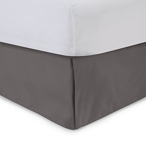 Harmony Lane Tailored Bed Skirt - 14 inch Drop, Dove Grey, Full Bedskirt with Split Corners (Available in and 16 Colors)