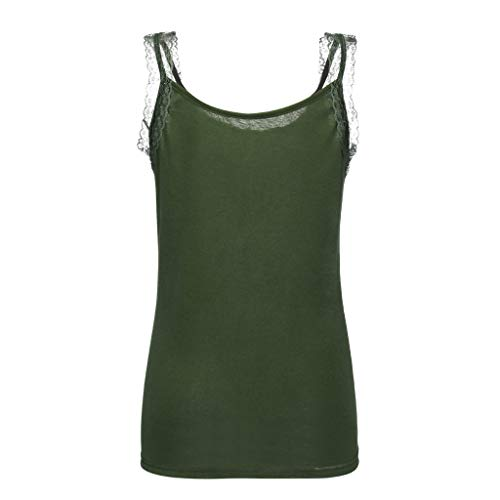 Creazrise Womens Lace Tank Tops, Rhinestone Lace Insert Fitted Tank Tops Shirt Blouse Camisole Army Green
