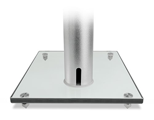 Mount-It! Speaker Floor for Theaters, 22 Lbs Capacity, Glass and Silver,