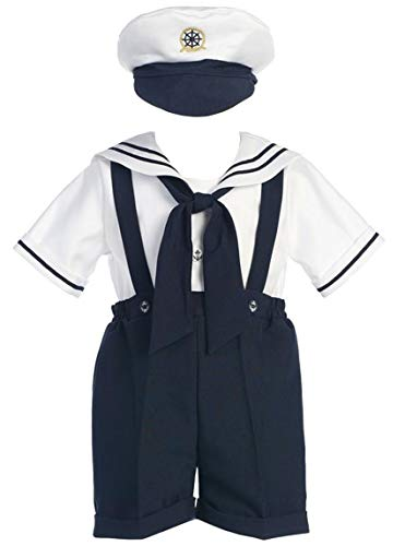 Navy Sailor Short Anchor (White Sailor Top w/Navy Shorts and suspenders, Size 2T)