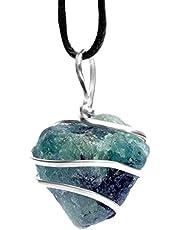 قلادة من الأحجار الكريمة الخام الزمرد - كريستال طبيعي خشن | حجر الحب الناجح | شاكرا القلب والعلاقة | وحدة الطاقة المتناسقة للبليس المحلي | مجوهرات للرجال والنساء