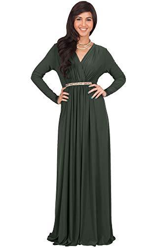KOH KOH Womens Long Sleeve Sleeves Kaftan V-Neck Flowy Formal Wedding Guest Fall Winter Evening Day Empire Waist Abaya Muslim Gown Gowns Maxi Dress Dresses, Olive Green L -