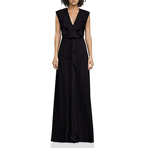 BCBG Generation Women's Ruffle V-Neck Gown Dress Blacks