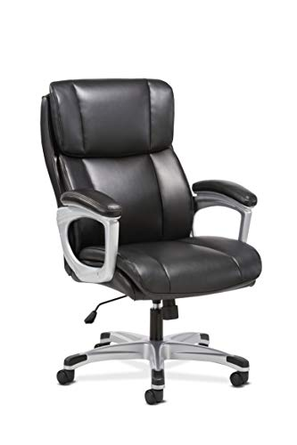 Sadie Executive Computer Chair- Fixed Arms for Office Desk, Black Leather (HVST315)