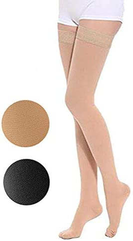 TOFLY Thigh High Compression Stockings, Opaque, Firm Support 15-20 mmHg Gradient Compression with Silicone Band, Closed Toe Compression Stockings, Treatment Swelling, Varicose Veins, Edema, Beige S