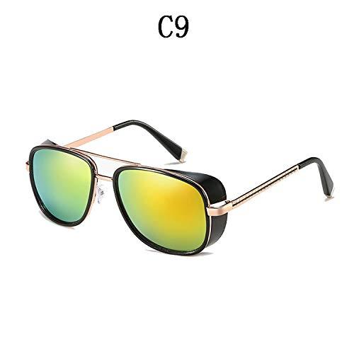 Sunglasses Men Luxury Eyewear Mirror Punk Sun Glasses Vintage Male Sunglasses Steampunk Oculos,C9