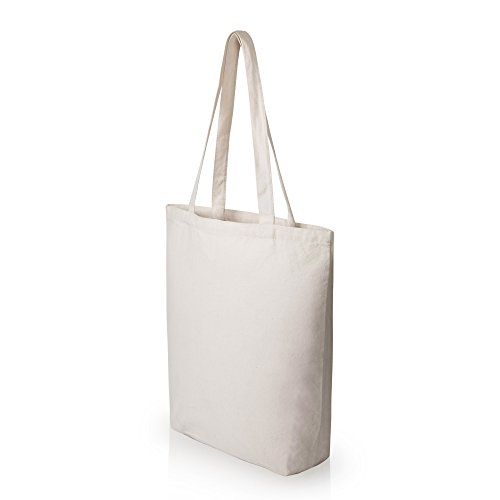 Heavy Duty and Strong Large Natural Canvas Tote Bags with Bottom Gusset (6 Pack + other sizes) for Crafts, Shopping, Groceries, Books, Welcome Bag, Diaper Bag, Beach, and Much More! - Cross Blank
