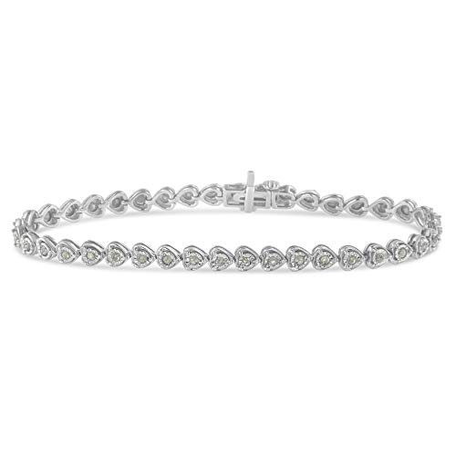 Sterling Silver Rose-cut Diamond Certified Heart Link Tennis Bracelet (1.00 cttw, I-J color, I3 clarity)
