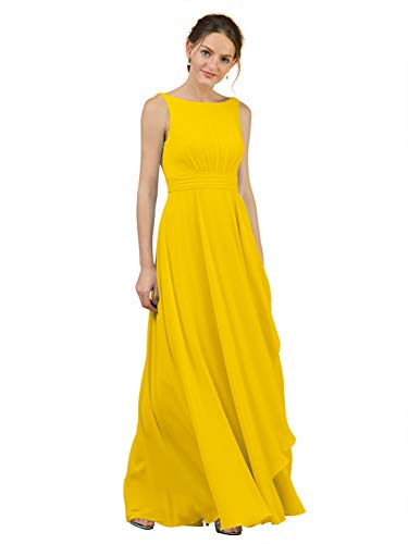 Alicepub A-Line Chiffon Plus Size Bridesmaid Dress Long Party Evening Dresses Prom Gown Maxi, Mustard Yellow, US24