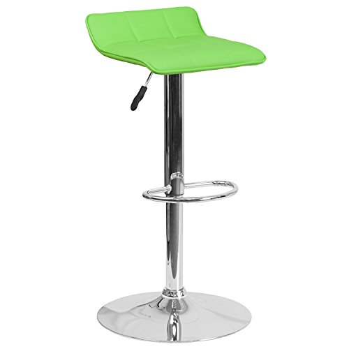 Flash Furniture Contemporary Green Vinyl Adjustable Height Barstool with Chrome Base (Contemporary Kitchen Stools)