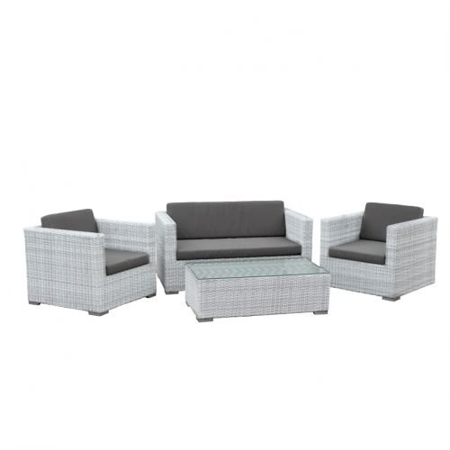 wei e geflechtgruppe sizilien 4 teilig mit auflagen in taupe gartensessel gartensofa tisch. Black Bedroom Furniture Sets. Home Design Ideas