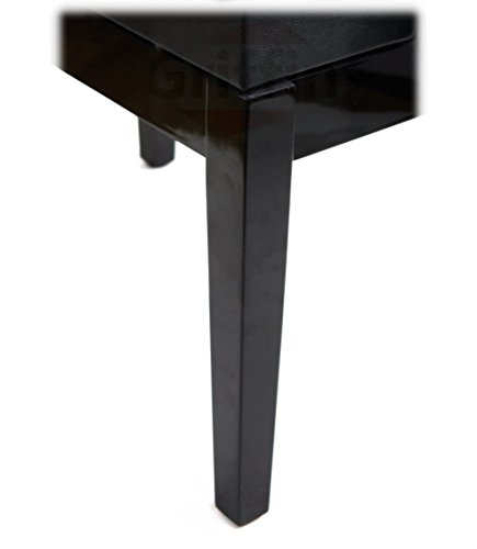 Premium Adjustable Antique Piano Bench By Griffin – Black Solid Wood Frame & Luxurious, Comfortable Leather Padded Seat, Ergonomic Keyboard Stool With Hidden Storage Space, Sturdy Vintage Design