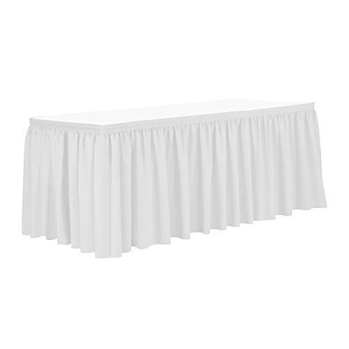 - Ultimate Textile 21 ft. Shirred Pleat Polyester Table Skirt White
