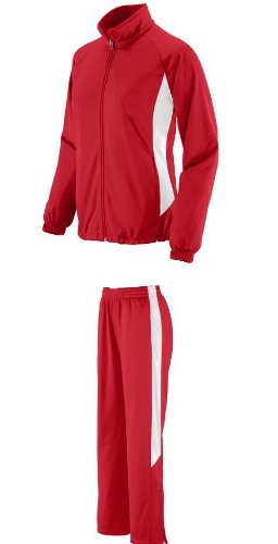 Ladies Adult Red/White XL Full 2-Color Sweat Suit with Sweat Pants & Matching Jacket