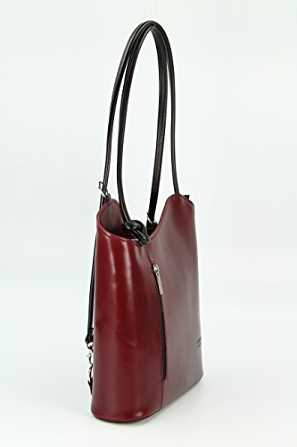 as can x also Italian D 28 28 H nbsp; x x BELLI Handbag 8 be Shopper nbsp;cm Schwarz Backpack Leather Shoulder worn a x Bordeaux W Fine Bag 0xwn8xP