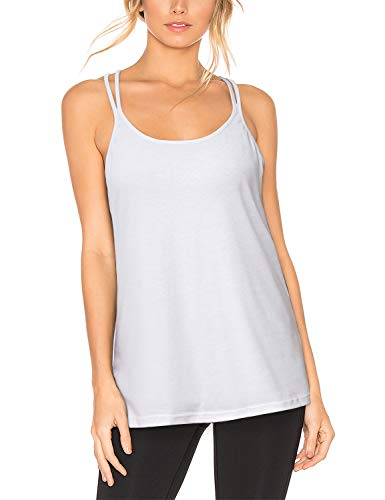 Miss Fortune White Tank Top Women, Teen Girl Back Detail Tops Keyhole Flowy Yoga Tank Top Strappy Cute Summer Sleeveless Shirt Sport Racerback Tops Loose Exercise Tunics L