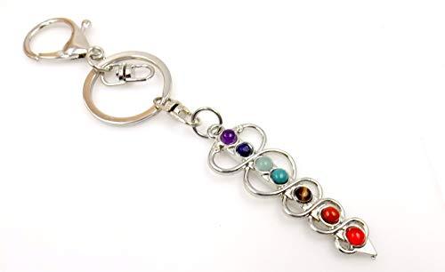 Silver Tone Pendulum - Chakra Pendulum Keychain Silver-tone Ring Pocket Fob Clasp Spiritual Metaphysical