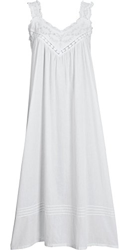 The Vermont Country Store Women Women's Lace Pinafore Cotton Nightgown Large White