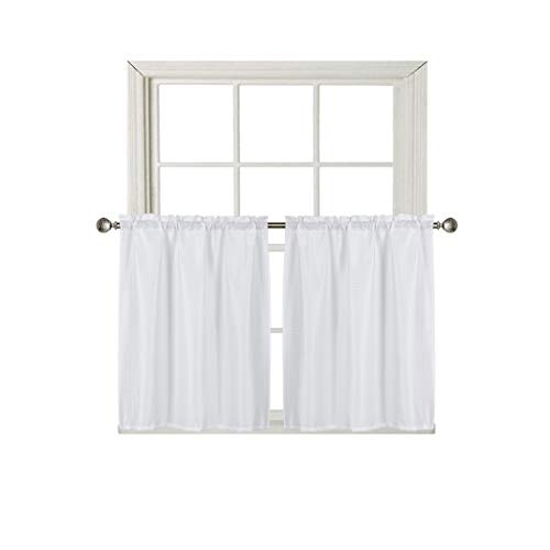 Home Queen Waffle Waterproof Tier Curtains for Bathroom Window, Short Room Darkening Rod Pocket Kitchen Curtains, 2 Panels, 36 W X 36 L Inch Each, Solid White (For Bathroom Tier Curtains)