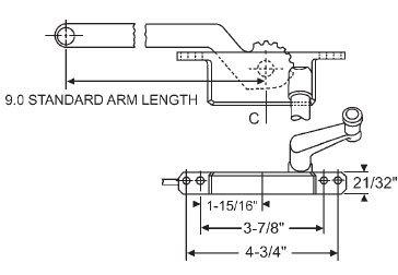 (STB Casement Window Operator, Right Hand, Face Mount, Aluminum, 9