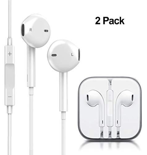 Nemece Earbuds,2 Pack in-Ear Wired Earphones Stereo Headphones Compatible with Apple iPhone 6s/plus/6/5s/se/5c/ iPad iPod (White)