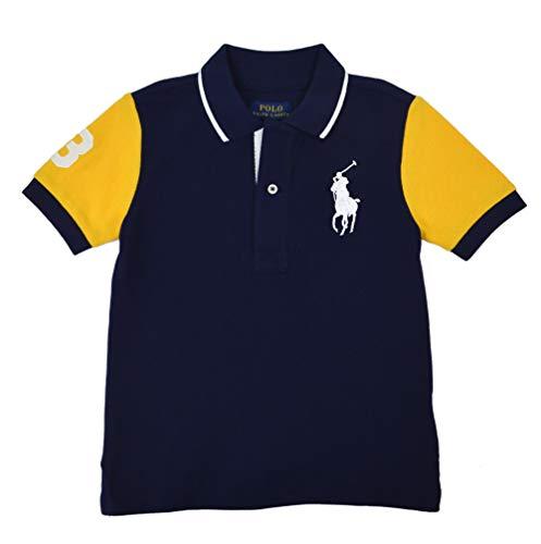 Polo Ralph Lauren Boys Kids Colorblock Embroidered Polo Shirt Navy Blue Yellow (Medium (10-12)) (China Ralph Lauren Patterns)