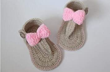 55685654a9479 Amazon.com : Lessonmart Crochet Baby flip Flop Sandals, Baby Summer ...
