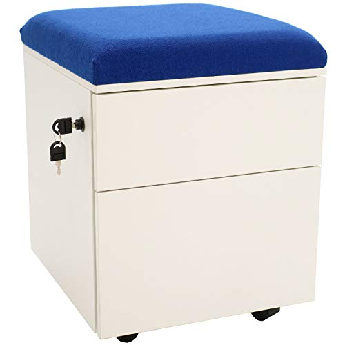 Rolling Mobile Pedestal Storage Cabinet with Lock and Cushion, Steel 2-Drawer for Home or Office by CASL Brands, Blue