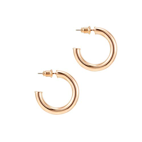 PAVOI 14K Rose Gold Colored Lightweight Chunky Open Hoops | 30mm Rose Gold Hoop Earrings for Women
