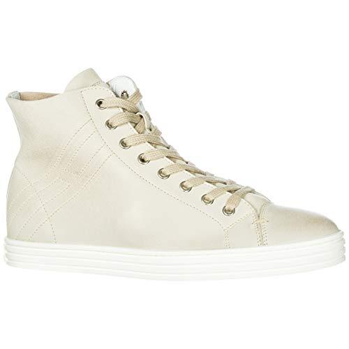 Femme Rebel Baskets Sneakers Beige en Chaussures Hogan Vintage Hautes Cuir r182 q67XUwXd