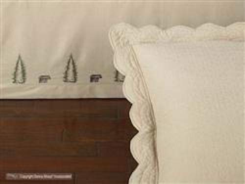 Donna Sharp Bear Creek Quilt, Bed Skirts, Shams, Pillow & Valance (Beige, Ruffled Euro Sham 26W x 26L)