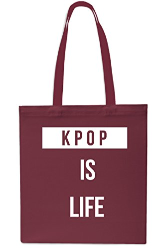 Kpop is Life Tote Shopping Gym Beach Bag 42cm x38cm, 10 litrest-Small-Black Maroon