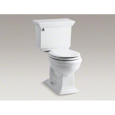 Kohler K-3933-0 Memoirs Comfort Height Two-Piece Round Front Toilet with Stately Design, White