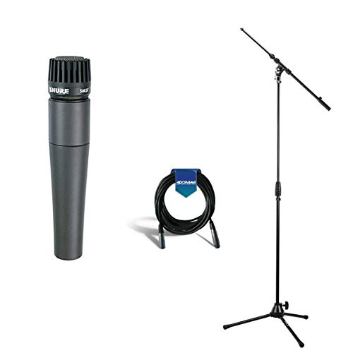 Shure SM57-LC Cardioid, Dynamic Handheld Wired Microphone. - Bundle with 25' Heavy Duty 7mm Rubber XLR Microphone Cable - Samson MK10 Lightweight Boom Mic Stand