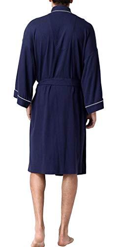 Largo Vestido Sólido Acogedor Cómodo Noche Suave 2 Con Navy Homewear Albornoz Cinturón Hombres Ocio Color Sauna Los Bata De wq8nfW4t4X