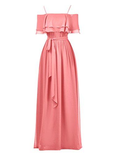 Evening Line Bridal Ball Pink Gown Bridesmaid Chiffon Long Party Coral Dress Alicepub A Dress ARUfzx