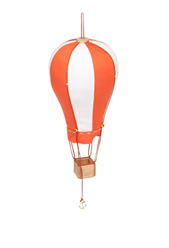 Hanging Textile Hot Air Balloon Mini Kid Room Decor Orange White Small