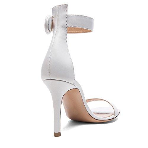 Semplice Edefs Artigianale Scarpe Bianco Tacco 8 Elegante D colorate argentato Sandali 100mm 5cm Cordino Moda Donna Caviglia Briglia alto 5SSpqrxI