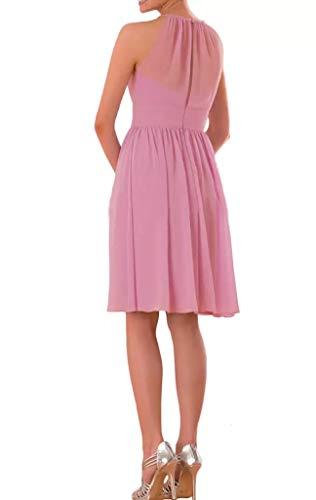 Braut Partykleider Ausschnitt U kurz La Lila Einfach Abendkleider Oberhalb Brautjungfernkleider Chiffon Rosa Marie Aw611x5qp
