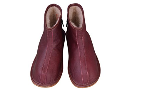 Natleat Larga donna Burgundy Slippers leather Unisex Gamba a Stivali uomo adulti gTaCRgq